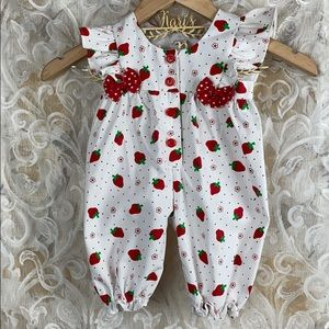 Vintage 3-6 Month Strawberry Ruffle Snap Onesie